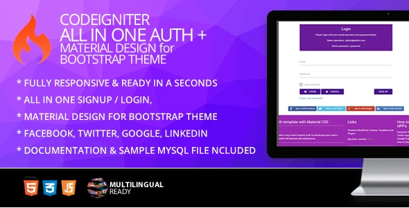 CodeIgniter ion-auth Template With Material Design for Bootstrap Theme - CodeCanyon Item for Sale