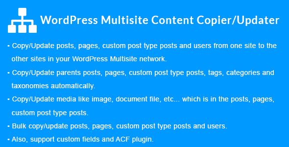 WordPress Multisite Content Copier/Updater - CodeCanyon Item for Sale
