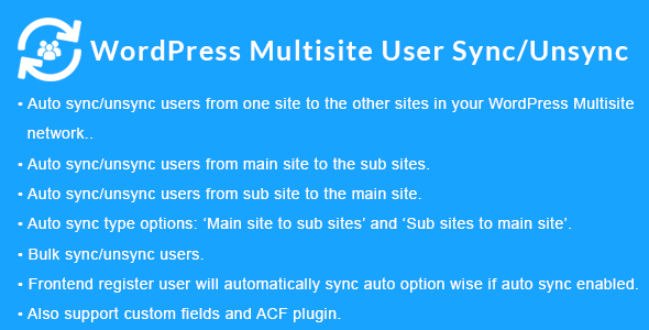 WordPress Multisite User Sync/Unsync
