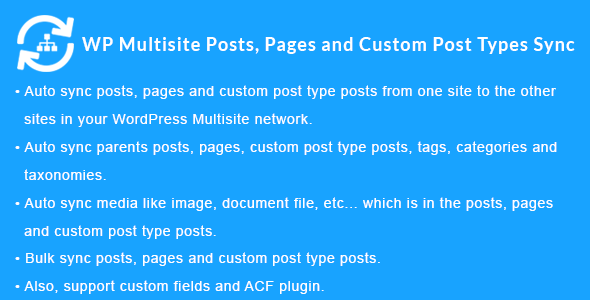 WordPress Multisite Posts, Pages and Custom Post Type Posts Sync - CodeCanyon Item for Sale