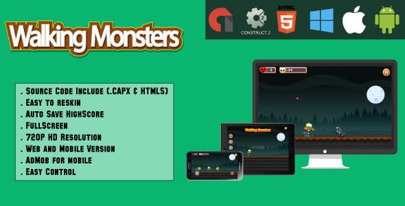 Walking Monsters - HTML5 Game - Mobile & Web (.CAPX & HTML)