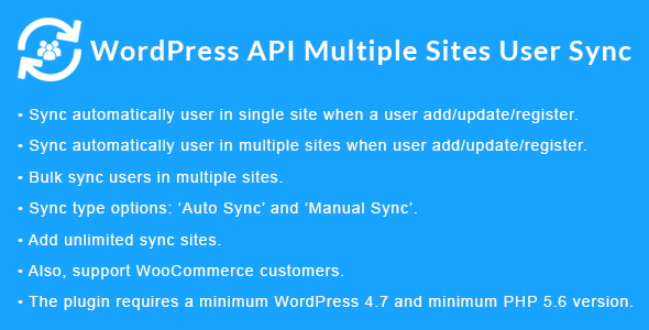 WordPress API Multiple Sites User Sync - CodeCanyon Item for Sale