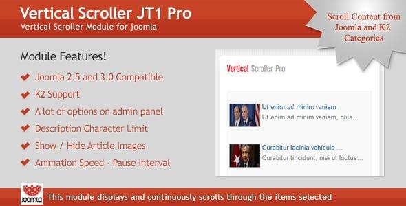 Vertical Scroller JT1 Pro Module for Joomla