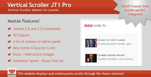 Vertical Scroller JT1 Pro Module for Joomla - CodeCanyon Item for Sale