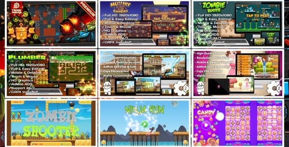 HTML5 GAMES BUNDLE №7 (Construct 3 | Construct 2 | Capx) - CodeCanyon Item for Sale
