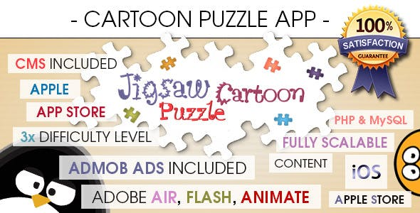 Jigsaw Cartoon Puzzle With CMS & AdMob - iOS