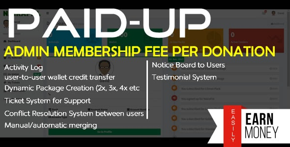 PaidUp - Peer-to-Peer Donation (Membership Fee/Transaction) System with Referral & CryptoCurrencies - CodeCanyon Item for Sale