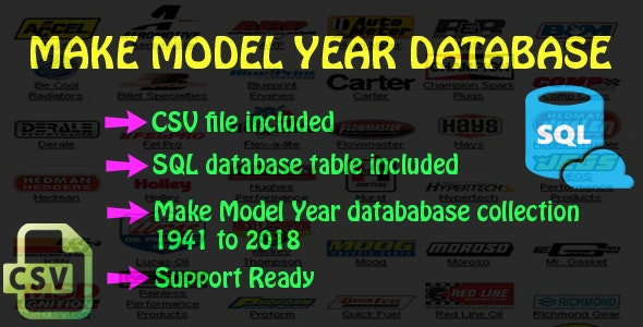 Make Model Year CSV and SQL Database - CodeCanyon Item for Sale