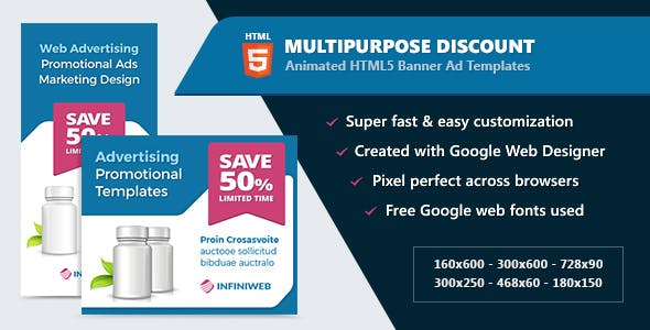 HTML5 Animated Banner Ads - Multipurpose Discount Offer (GWD)