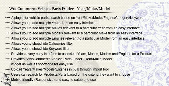 WooCommerce Vehicle Parts Finder - Year/Make/Model/Engine/Category/Keyword