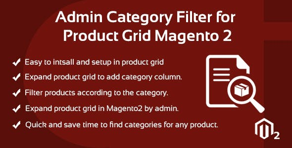 Admin Category Filter for Product Grid Magento 2