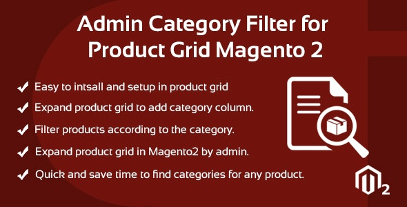Admin Category Filter for Product Grid Magento 2 - CodeCanyon Item for Sale