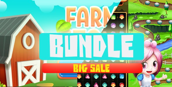 BUNDLE: Jewels blast Match 3 Complete Unity Project & Farm Story: Link Match Unity Project