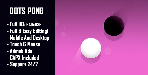 Dots Pong - HTML5 Game + Mobile Version! (Construct-2 CAPX) - CodeCanyon Item for Sale