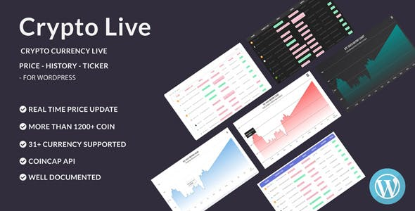 Crypto Live - Cryptocurrency Live Price - History Chart - Capitalization - For Wordpress