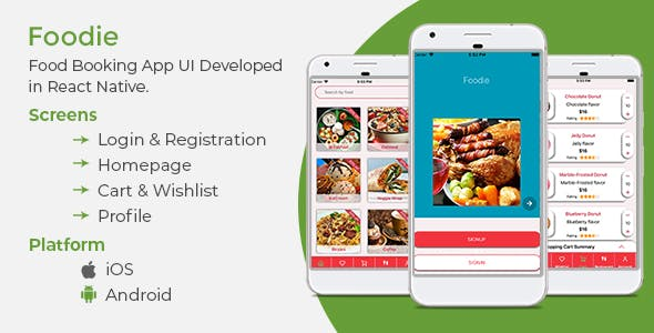 Food App Template with React Native - Mobile Android and iOS compatible