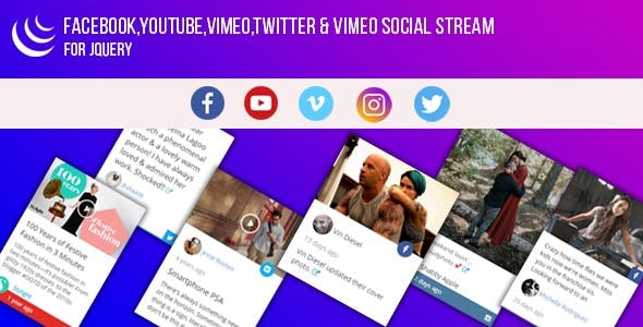 jQuery - Facebook,YouTube,Vimeo,Twitter,Instagram Social Stream Grid