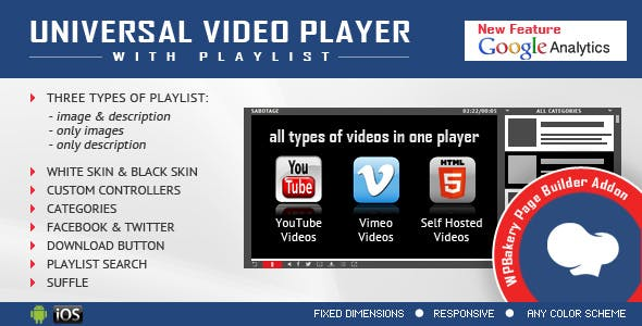 Visual Composer Addon - Universal Video Player for WPBakery Page Builder