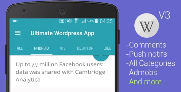 Ultimate WP Android App v3 - CodeCanyon Item for Sale