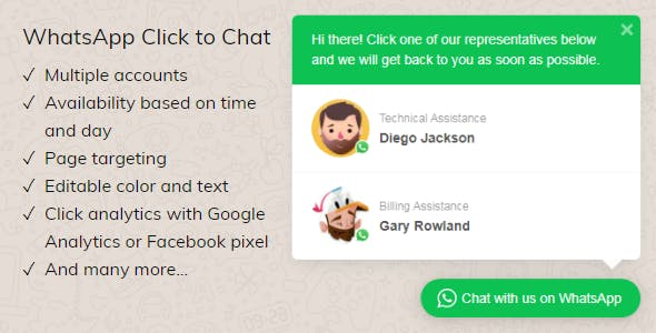 WhatsApp Click to Chat Plugin for WordPress        Nulled