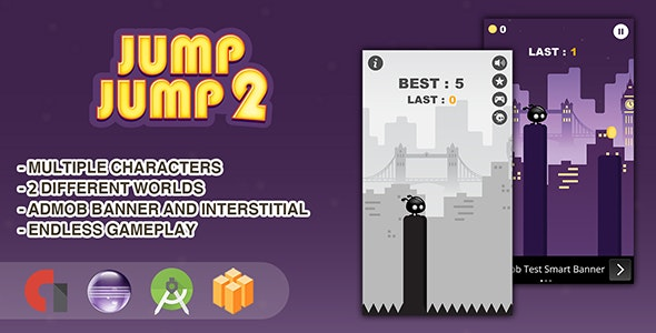 Jump Jump 2 - Android Studio + Eclipse + Buildbox Template - CodeCanyon Item for Sale