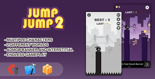 Jump Jump 2 - IOS XCODE Source + Buildbox Template - CodeCanyon Item for Sale