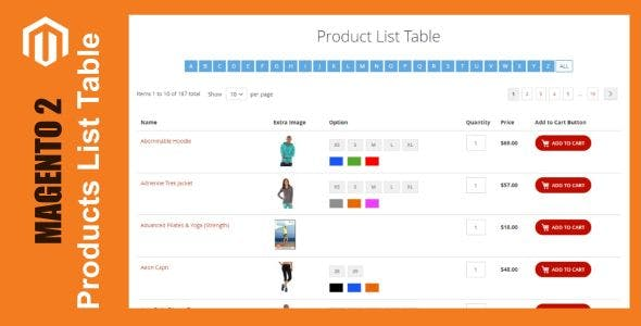 Products List Table For Magento 2