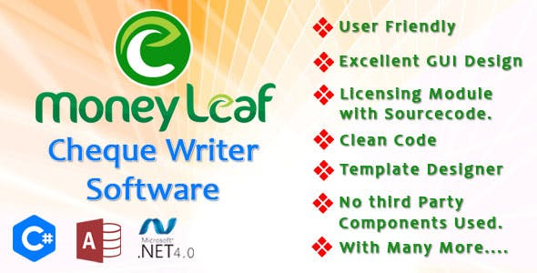 Money Leaf -Cheque Writer Software C#