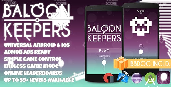 Balloon Keepers + Admob (BBDOC + Android Studio + Eclipse + XCODE) Easy Reskin