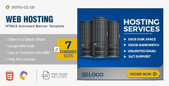 Web Hosting HTML5 Banners - 7 Sizes
