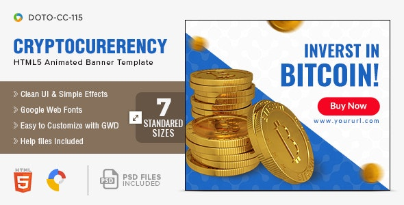 Crypto Currency HTML5 Banners - 7 Sizes - CodeCanyon Item for Sale
