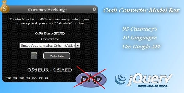 Cash Converter- Cute Modal Box(Only Jquery )