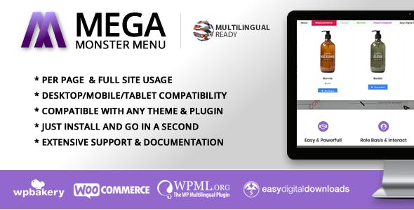 Mega Menu Monster - WordPress Mega Menu Plugin