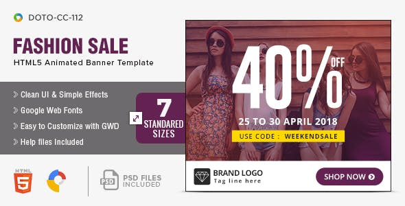 Clothing & Retail HTML5 Banners - 7 Sizes