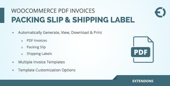 WooCommerce PDF Invoice, Packing Slip & Shipping Label