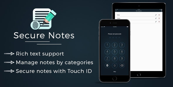 Secure Notes with Rich Text Support - Swift - Universal app - CodeCanyon Item for Sale