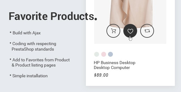 Prestashop 1.7 Favorite Products - CodeCanyon Item for Sale