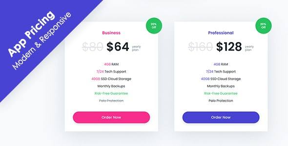 App Pricing - Modern & Responsive Pricing Tables - CodeCanyon Item for Sale