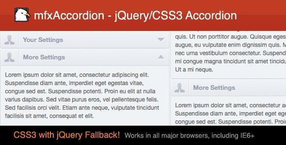 mfxAccordion - jQuery/CSS3 Accordion