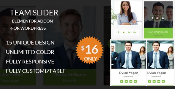 Team Slider - Team Member Showcase Elementor addon - For WordPress
