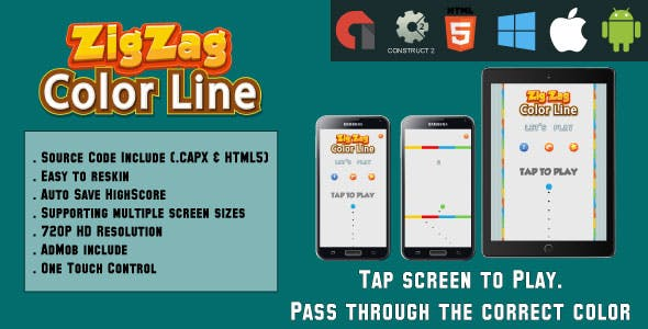 Color Line ZigZag - HTML5 Game - Mobile Version - (.CAPX & HTML)