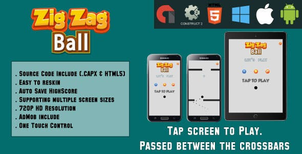 ZigZag Ball - HTML5 Game - Mobile Version - (.CAPX & HTML)
