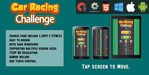 Car Racing challenge - HTML5 Game - Mobile Version - (.CAPX & HTML)