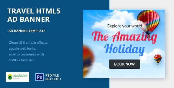 Online Travel Booking AD Banner 09 - CodeCanyon Item for Sale