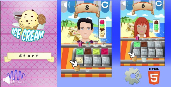 Ice Cream - Relaxing HTML5 Kids game - CodeCanyon Item for Sale