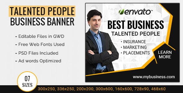 GWD | Business Ad Banner Template - 7 Sizes