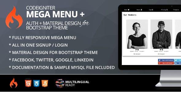 Mega Menu for CodeIgniter + ion-auth +  Material Design for Bootstrap Theme