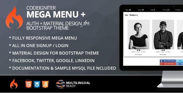 Mega Menu for CodeIgniter + ion-auth + Material Design for