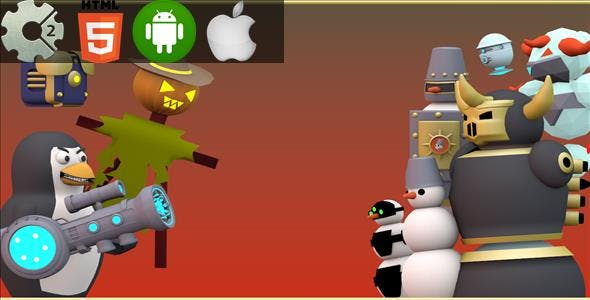 Combat Penguin - HTML5 Game + Mobile Version! (Construct-2 CAPX)