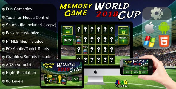 World Cup 2018 (soccer) - Memory Game - CAPX (HTML5 and Mobile)